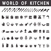 icons of kitchen and food