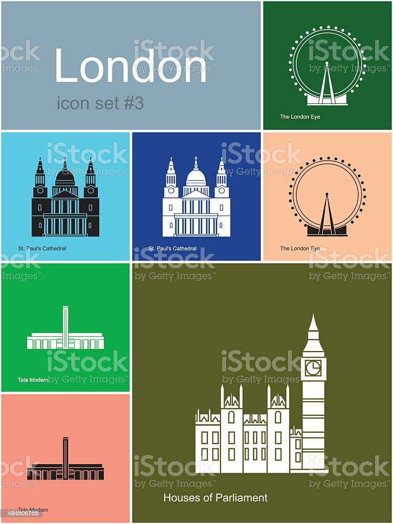 Icons of London vector art illustration