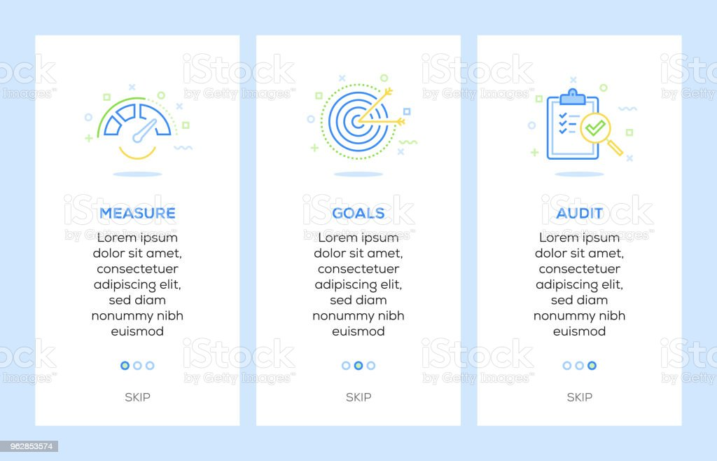 Ikonen der Maßnahme, Ziele, Audit. Beurteilungselemente Konzept Web – Vektorgrafik