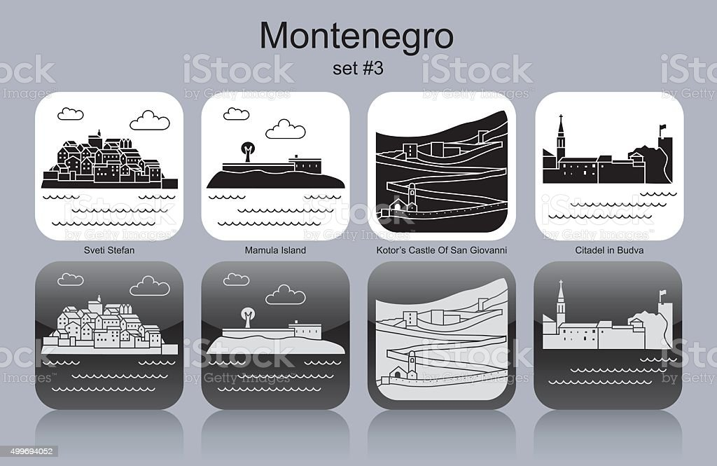 Icons of Montenegro vector art illustration