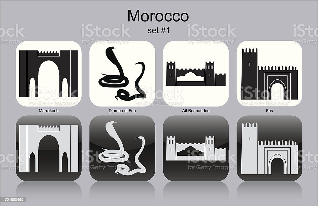 Icons of Morocco vector art illustration