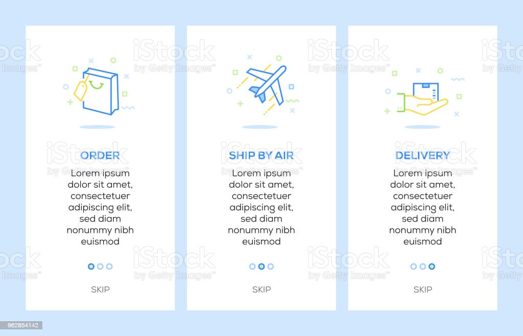 Icons Of Order Ship By Air Delivery Delivery Concept Web