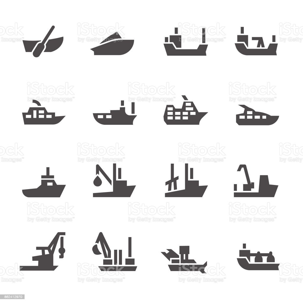 Icons of passenger and industrial ships in glyph style vector art illustration