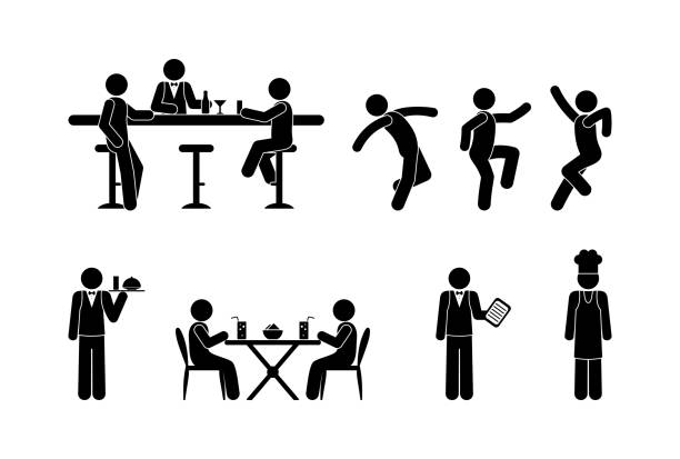 illustrazioni stock, clip art, cartoni animati e icone di tendenza di icons of people in the restaurant. people drink at the bar, visit a cafe, dance in a nightclub. stick figure pictogram cook, bartender and client. the waiter serves food. - dinner couple restaurant