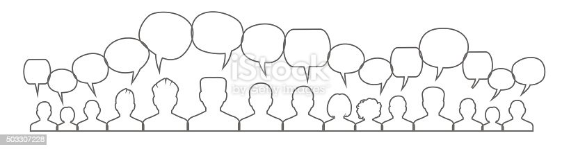 istock Icons of people with speech bubbles. . 503307228