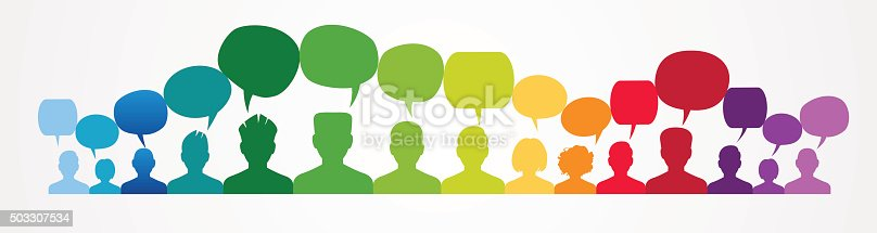 istock Icons of people with speech bubbles.. 503307534