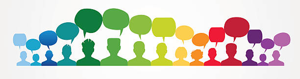 Icons of people with speech bubbles.. Icons of people with speech bubbles. People Chatting. Vector illustration of a communication concept, relating to feedback, reviews and discussion. . debate stock illustrations