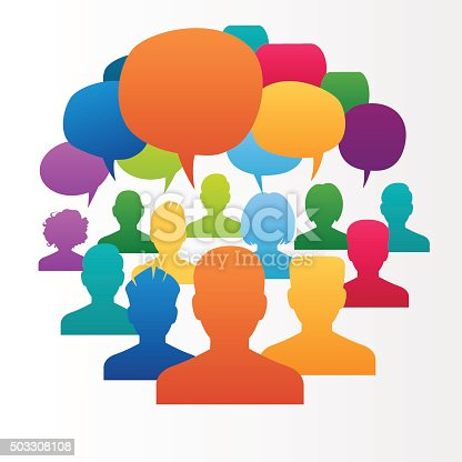 istock Icons of people with speech bubbles. . 503308108