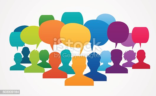 istock Icons of people with speech bubbles.. 503309184