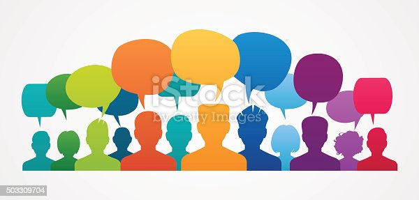 istock Icons of people with speech bubbles. . 503309704