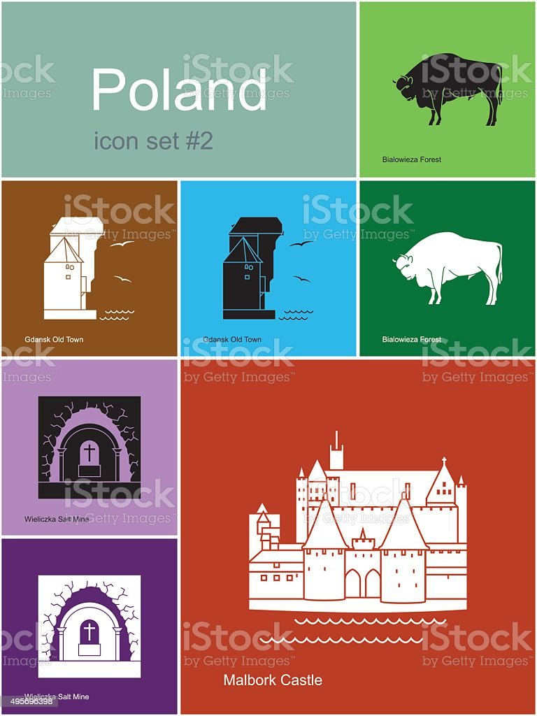 Icons of Poland vector art illustration