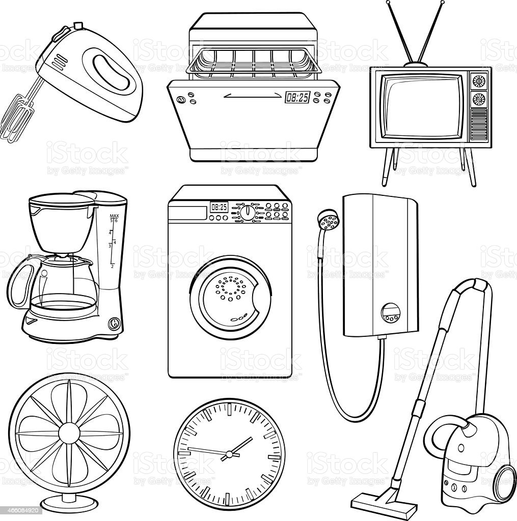 icons of popular home electric appliances stock vector art