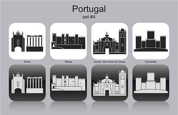 Ícones de Portugal - ilustração de arte vetorial