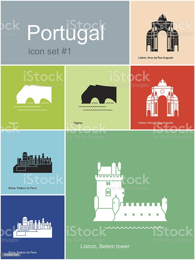 Icônes de Portugal - Illustration vectorielle