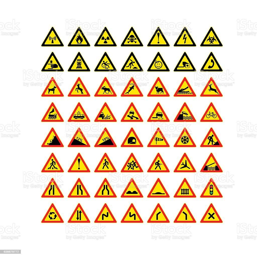 Vetores De Icons Of Road Signs E Mais Imagens De Bicicleta Istock