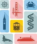 Icons of famous places in San Francisco with long shadow effect.