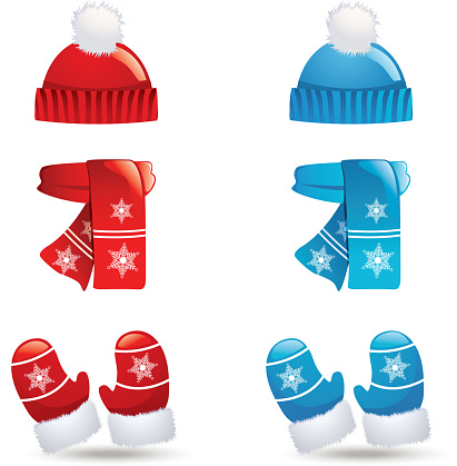 Icons of sets of hats, scarves and gloves in blue and red