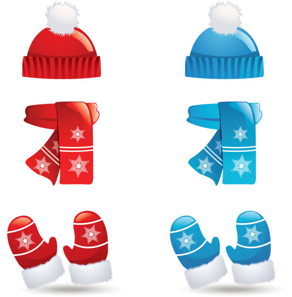 Icons of sets of hats, scarves and gloves in blue and red Winter clothes, vector illustration mitten stock illustrations