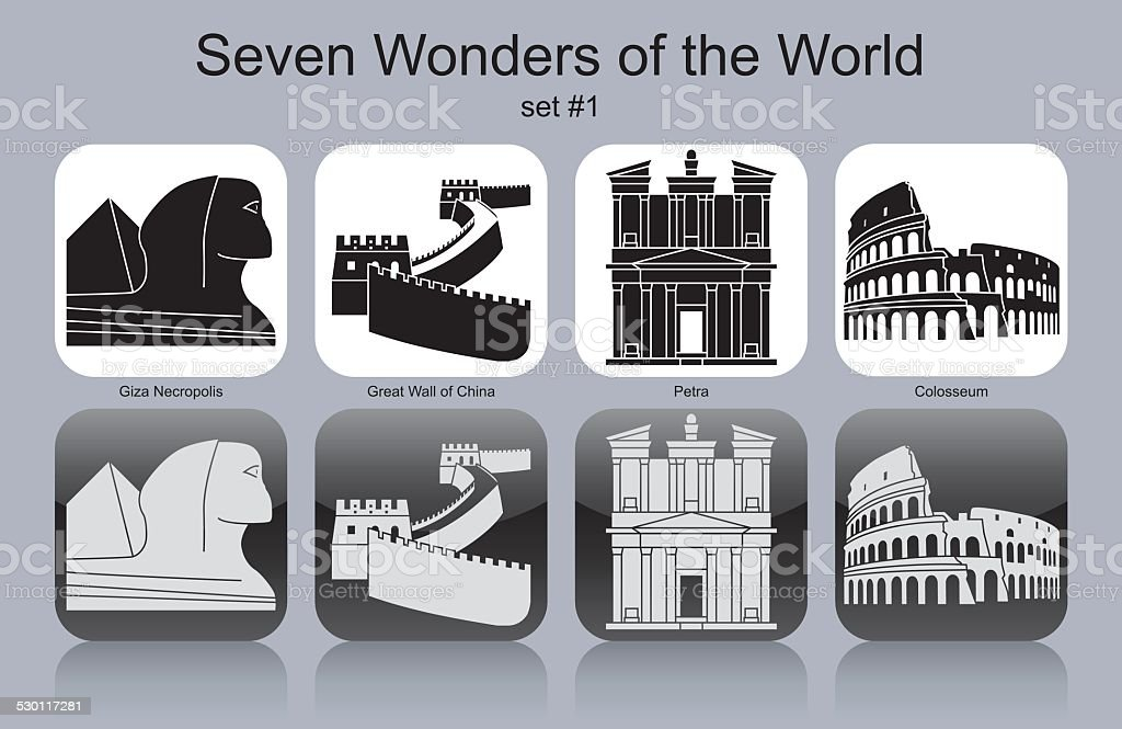Icons of Seven Wonders of the World vector art illustration