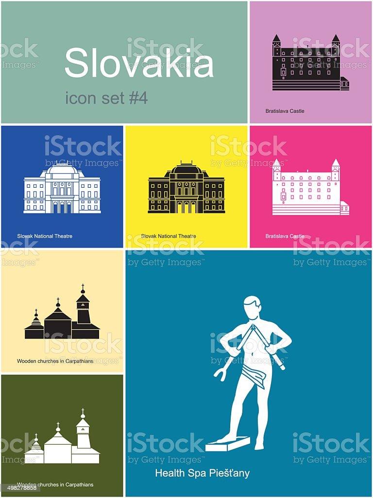 Icons of Slovakia vector art illustration