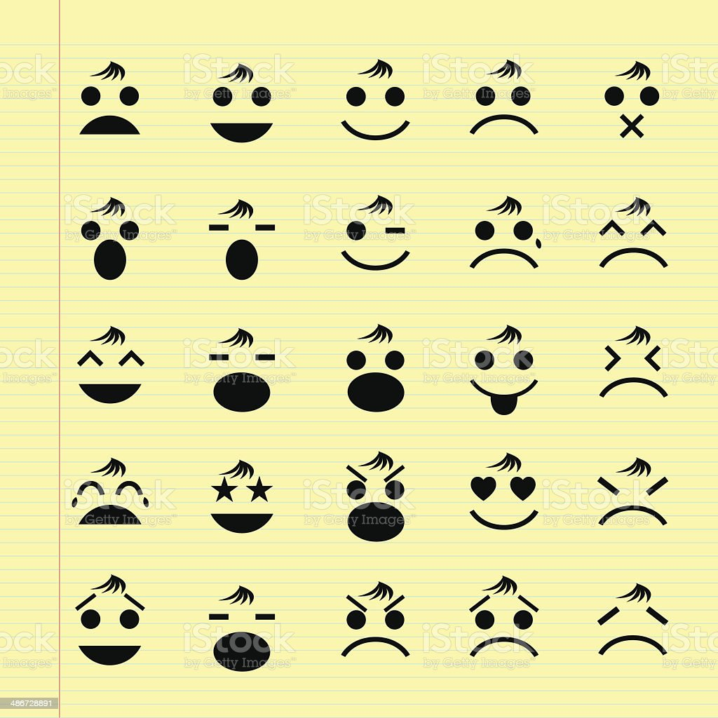 icons of smiley faces vector art illustration