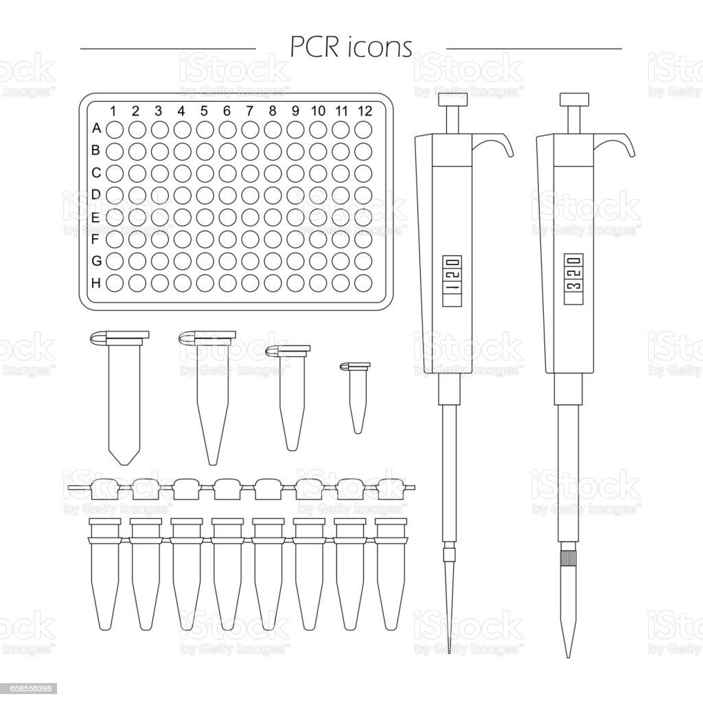 icons of standard pcr equipment vector art illustration