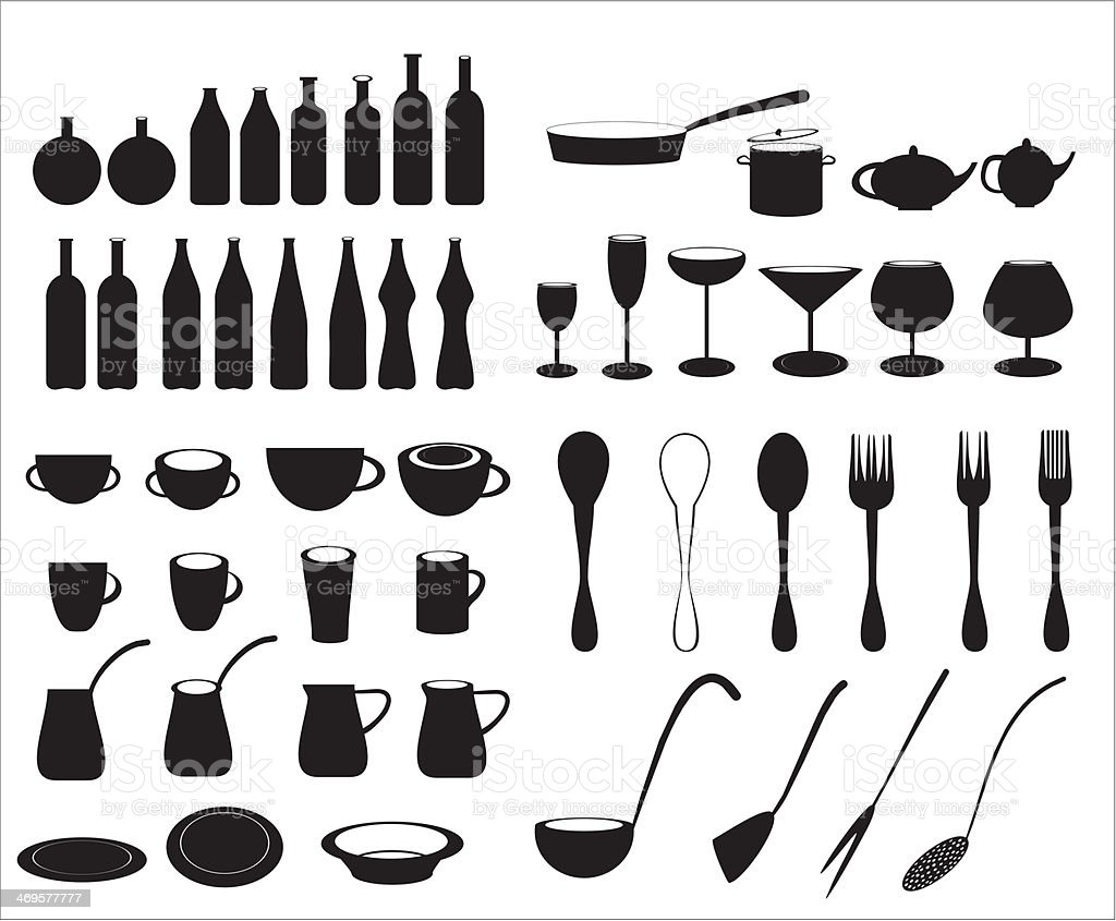 Icons of tableware and cutlery royalty-free stock vector art