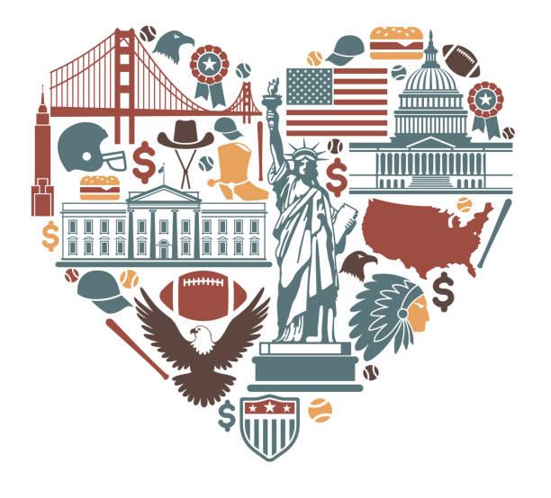 ikony usa w postaci serca - white house stock illustrations
