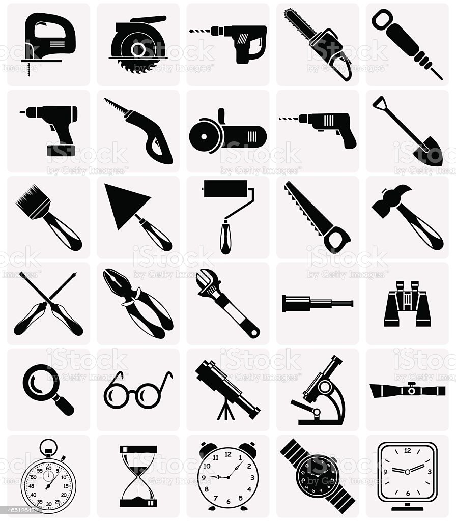 Icons of tools and devices vector art illustration