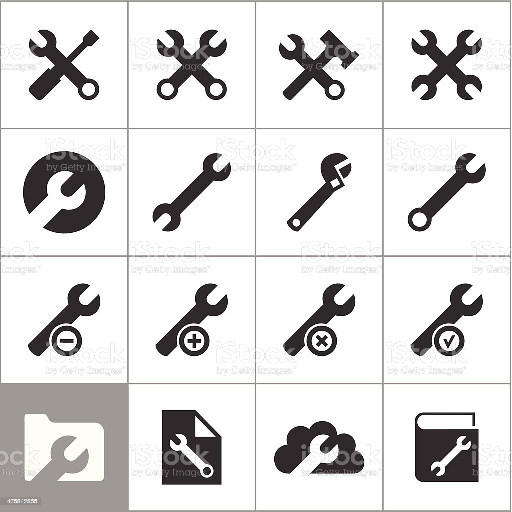 Icons of tools vector art illustration