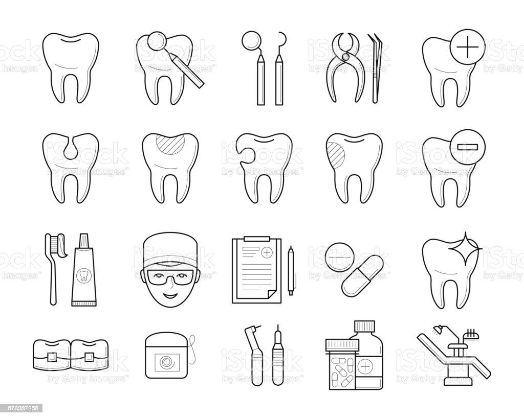 歯、歯科用機器のアイコン ベクターアートイラスト