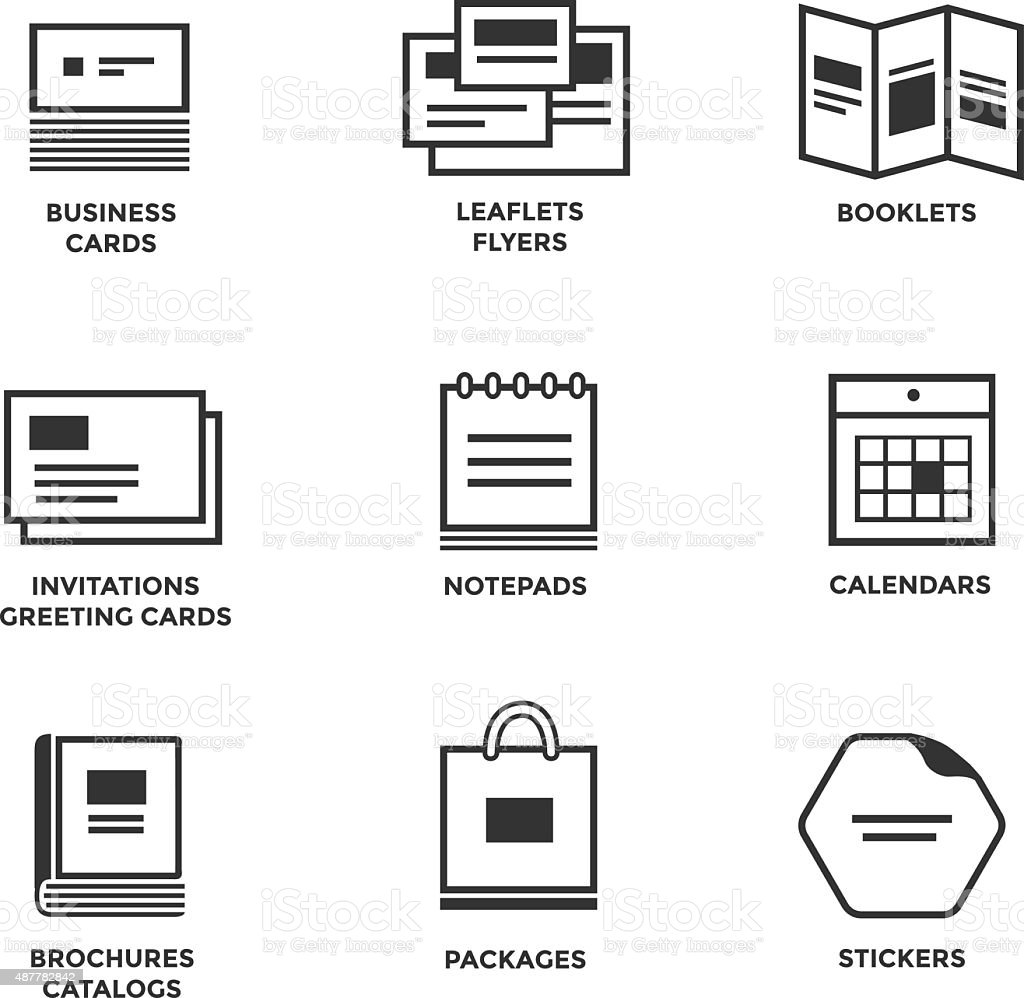 Icons of various print media vector art illustration