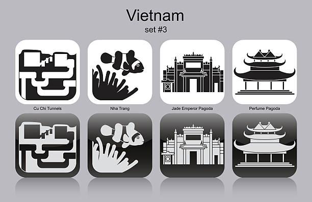 Icons of Vietnam Landmarks of Vietnam. Set of monochrome icons. Editable vector illustration. viet cong stock illustrations
