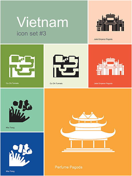 Icons of Vietnam Landmarks of Vietnam. Set of color icons in Metro style. Editable vector illustration. viet cong stock illustrations