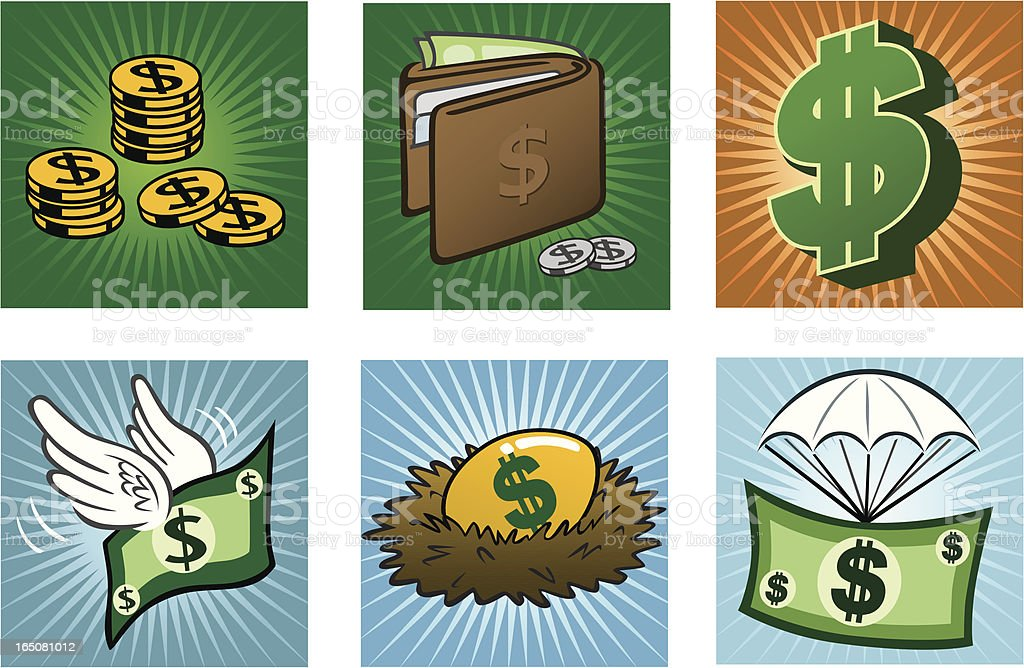 Icons Of Wealth royalty-free stock vector art