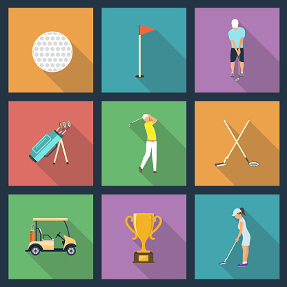 Icons of young people playing Golf