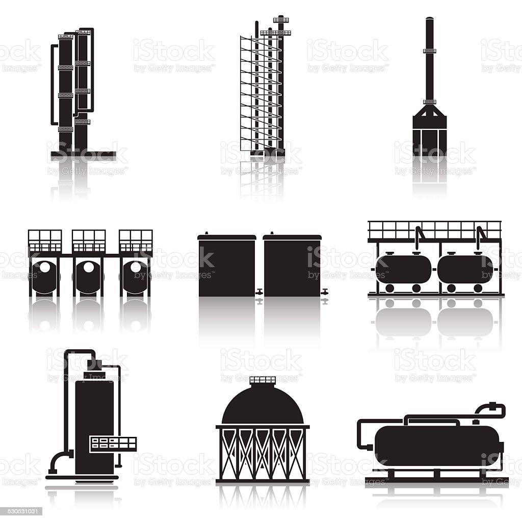 icons oil refinery, pipelines, tanks, petrol, gas vector art illustration