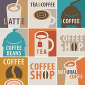 collection of icons on a theme of coffee and tea with a coffee grinder and a cup