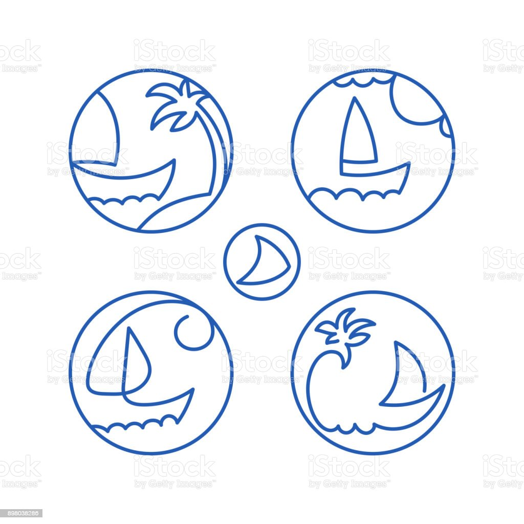 Icons pictograms seascape vector art illustration