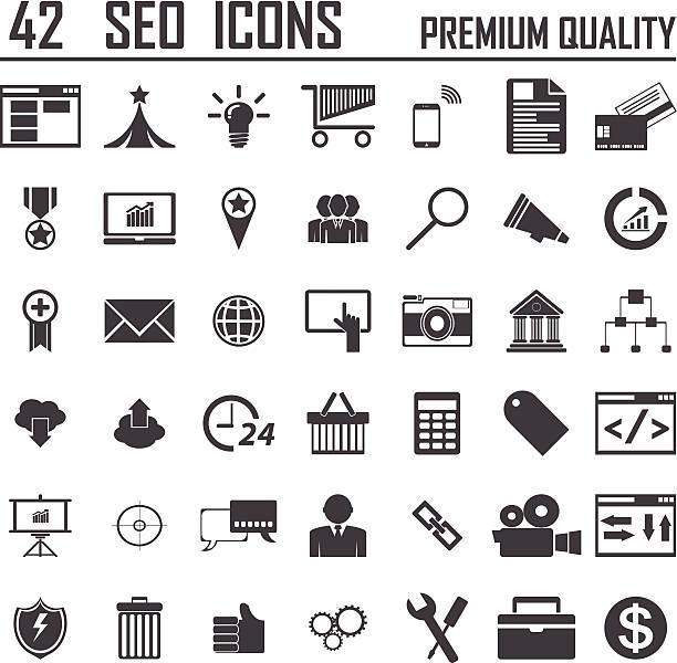 bildbanksillustrationer, clip art samt tecknat material och ikoner med 42 seo icons premium quality - social media post template