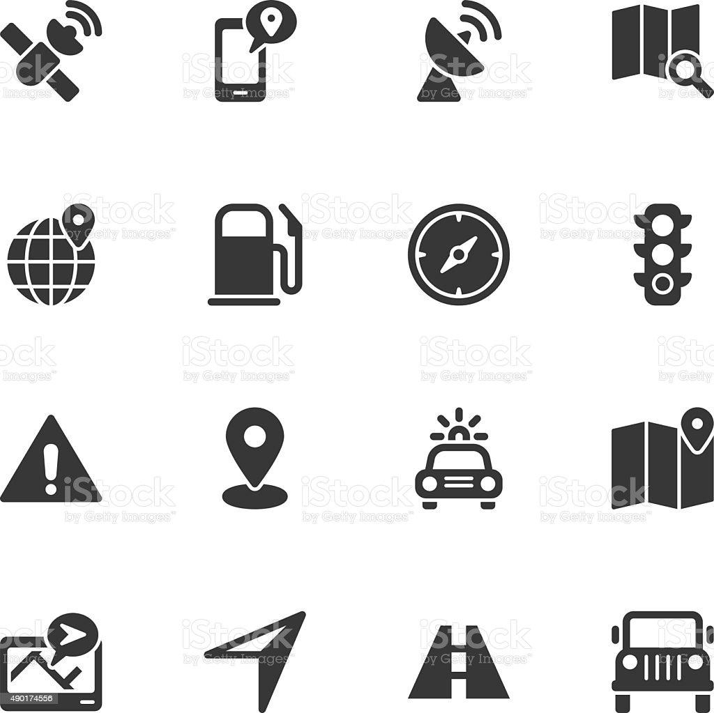GPS icons - Regular vector art illustration