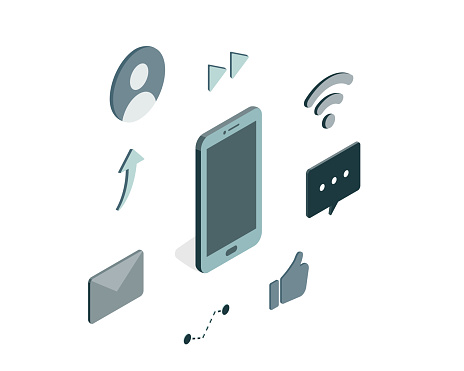 Icons related to communication via the Internet such as sns and email, and isometric illustrations of smartphone.