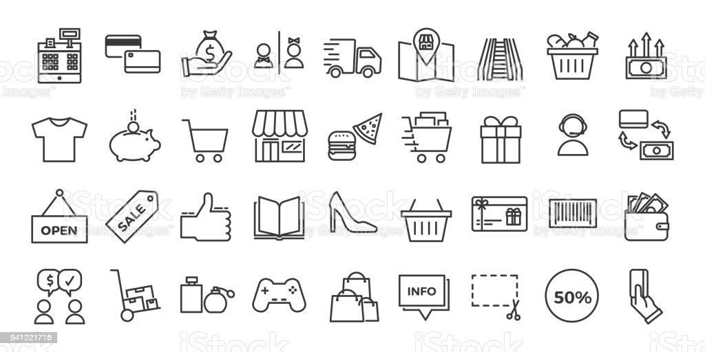 Icons related with commerce, shops, shopping malls, retail. Vector illustration thin line design set