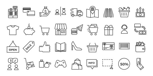illustrazioni stock, clip art, cartoni animati e icone di tendenza di icons related with commerce, shops, shopping malls, retail. vector illustration thin line design set - acquisti