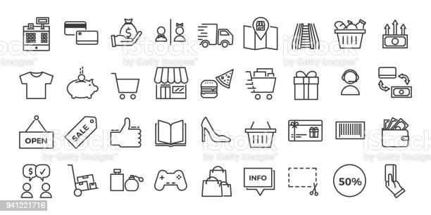 Icons Related With Commerce Shops Shopping Malls Retail Vector Illustration Thin Line Design Set - Arte vetorial de stock e mais imagens de Arte Linear