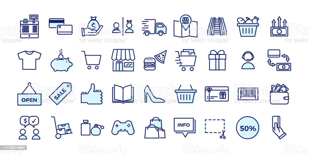 Icons related with commerce, shops, shopping malls, retail. Vector illustration filled outline design set - Grafika wektorowa royalty-free (Artykuły spożywcze)