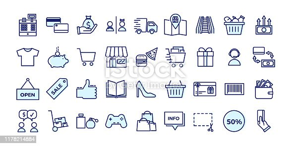 istock Icons related with commerce, shops, shopping malls, retail. Vector illustration filled outline design set 1178214884