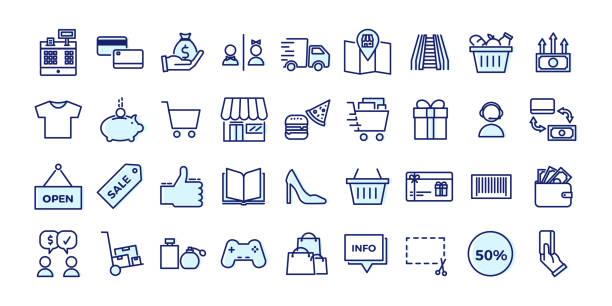與商業、商店、購物中心、零售相關的圖示。向量插圖填充輪廓設計集 - 商務 幅插畫檔、美工圖案、卡通及圖標