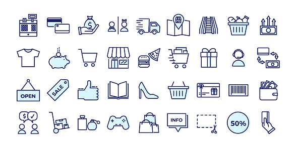 Vetores de Ícones Relacionados Com O Comércio Lojas Centros Comerciais Varejo Jogo Enchido Do Projeto Do Esboço Da Ilustração Do Vetor e mais imagens de Arte Linear