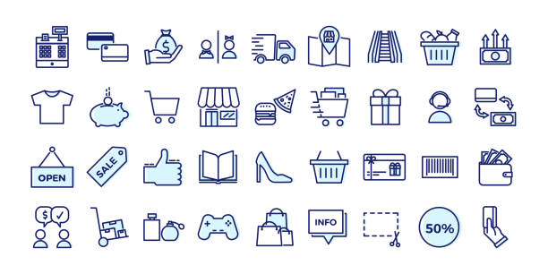 illustrazioni stock, clip art, cartoni animati e icone di tendenza di icons related with commerce, shops, shopping malls, retail. vector illustration filled outline design set - acquisti